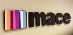 Interior dimensional letter sign for an office by Glass Graphics of Atlanta.
