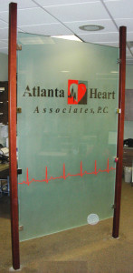 Filmed glass office partition by Glass Graphics of Atlanta.