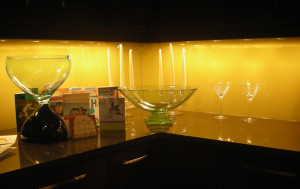 Painted glass backsplash created and installed by Glass Graphics of Atlanta.