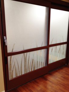 Sandblasted privacy glass on an office sliding glass door by Glass Graphics of Atlanta.