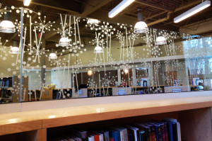 Sandblasted or frosted interior glass panel for a library by Glass Graphics of Atlanta.