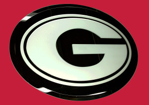 Sandblasted glass mirror displaying a college logo graphic by Glass Graphics of Atlanta.