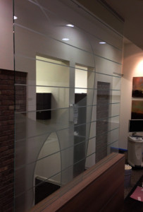 sandblasted interior office window by Glass Graphics of Atlanta