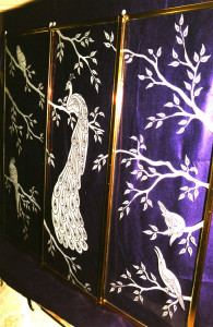 Peacock scene sandblasted glass shower enclosure by Glass Graphics of Atlanta.