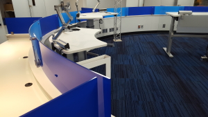 Blue film on semi-privacy glass in office environment. Glass filming by Glass Graphics of Atlanta.