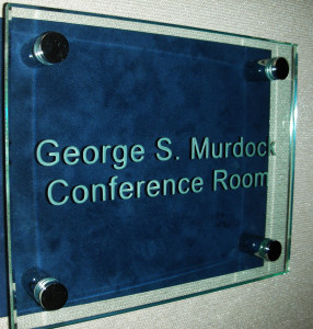 Sandblasted donor recognition sign mounted on stand-offs by Glass Graphics of Atlanta.