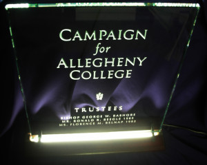 Honoree recognition plaque on sandblasted glass by Glass Graphics of Atlanta.