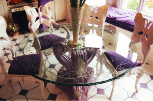 Glass table top with sandblasted graphic by Glass Graphics of Atlanta.