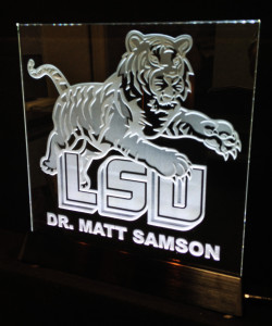 College logo sandblasted glass plaque illuminated by LEDs by Glass Graphics of Atlanta.