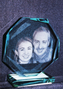 Glass plaque with printed image by Glass Graphics of Atlanta.