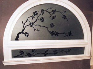 Sandblasted privacy glass for a garden tub window by Glass Graphics of Atlanta.