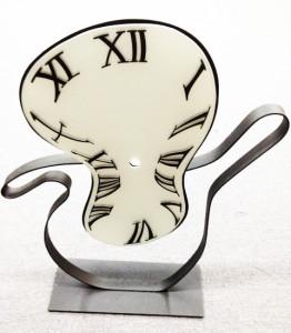 Sandblasted surrealist glass clock by Glass Graphics of Atlanta.