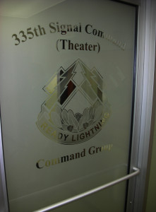sandblasted glass door by Glass Graphics of Atlanta