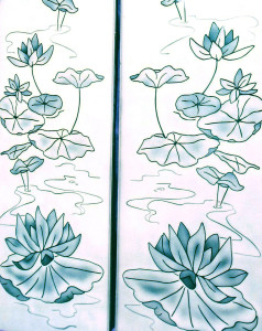 Lily pad scene sandblasted / frosted glass shower enclosure by Glass Graphics of Atlanta.