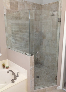 Glass shower enclosure created and installed by Glass Graphics of Atlanta.