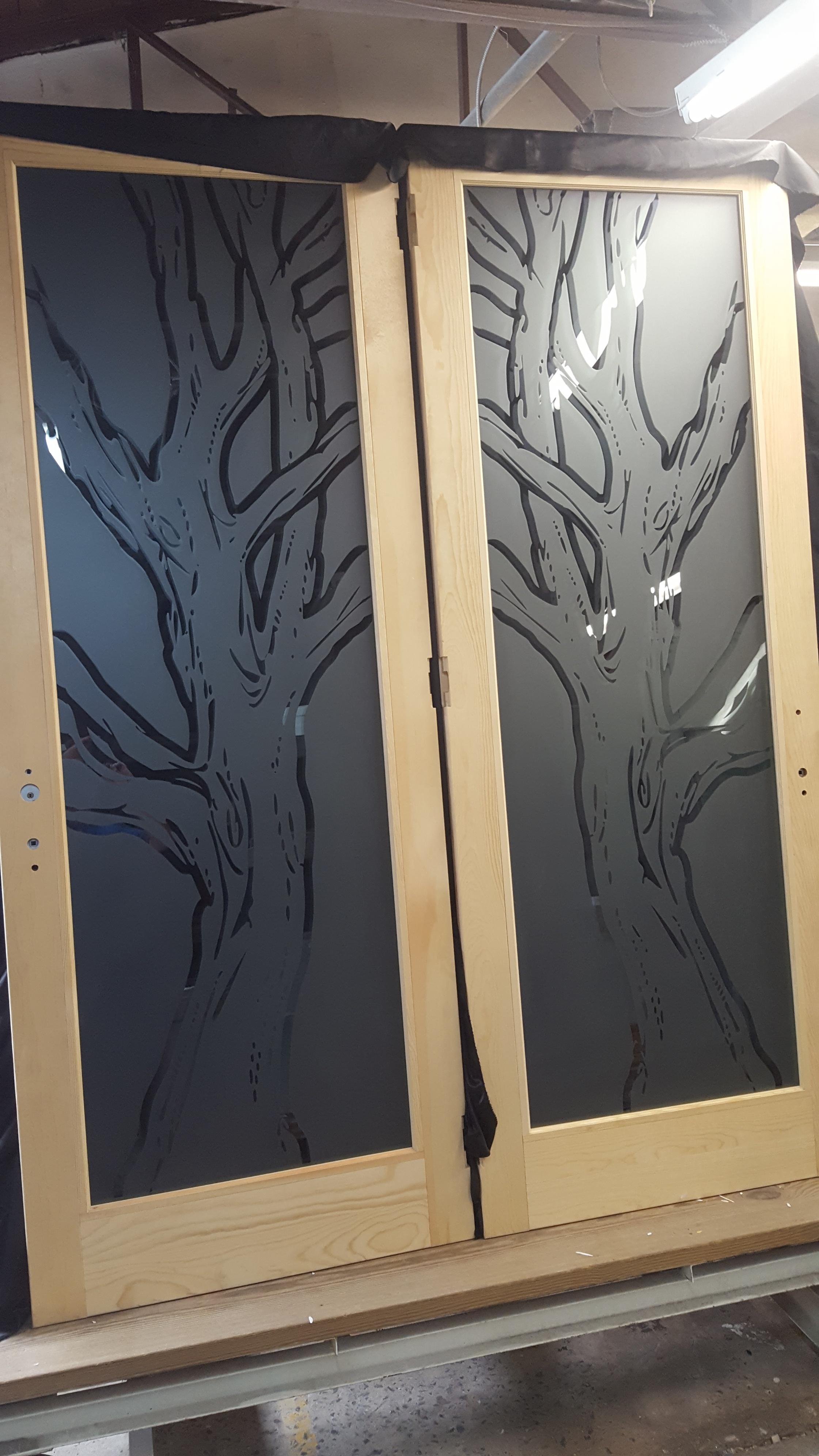 Sandblasted Trees on Glass Doors by Glass Graphics of Atlanta