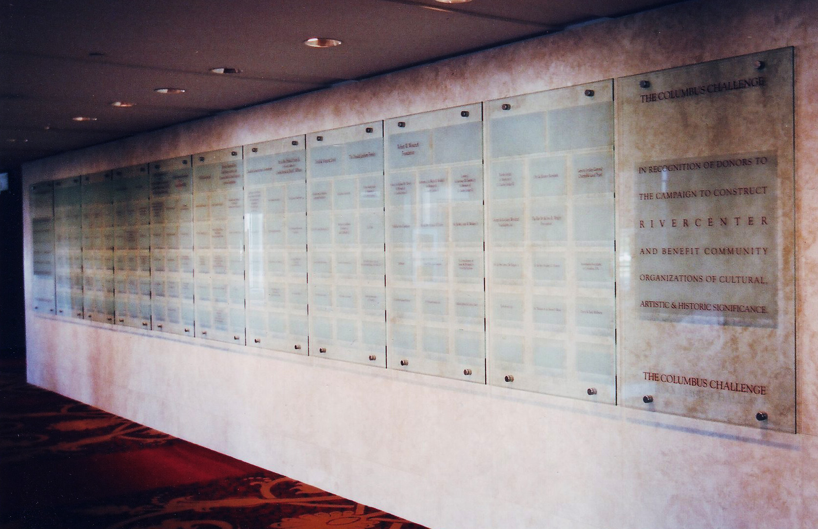 Donor recognition wall panels mounted on stand-offs by Glass Graphics of Atlanta.