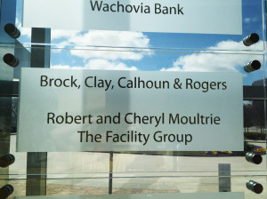 Donor recognition glass panel mounted on stand-offs by Glass Graphics of Atlanta.