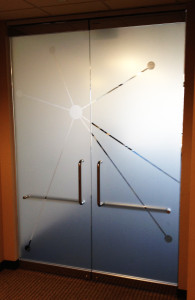 Filmed glass office door by Glass Graphics of Atlanta.