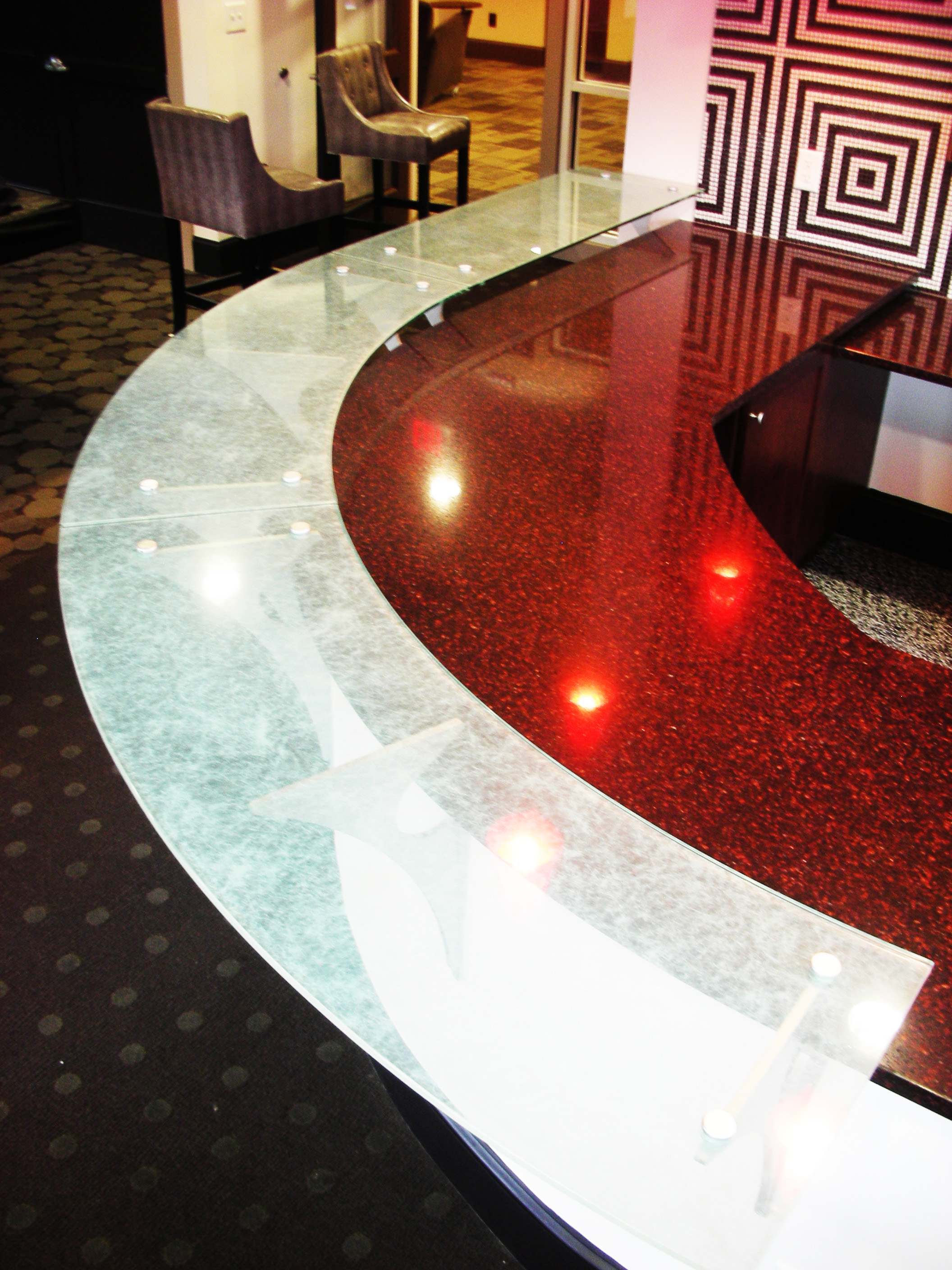 Sandblasted / frosted glass counter top created and installed by Glass Graphics of Atlanta.
