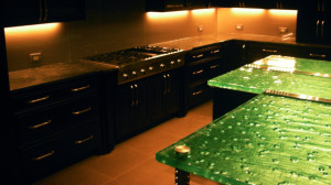 Textured glass table and counter tops by Glass Graphics of Atlanta.