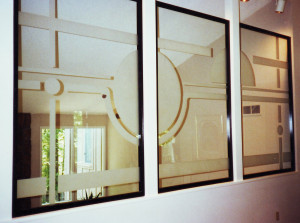 Interior residential windows with sandblasted glass graphics by Glass Graphics of Atlanta.