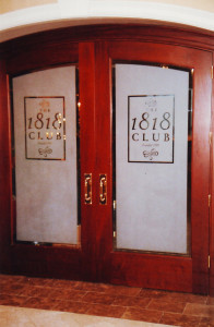 Sandblasted or frosted interior glass signage for a restaurant by Glass Graphics of Atlanta.