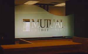 Sandblasted or frosted commercial interior glass signage by Glass Graphics of Atlanta.