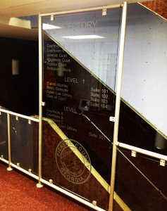 Sandblasted glass office building directory by Glass Graphics of Atlanta.