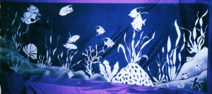 Coral reef scene sandblasted glass shower enclosure by Glass Graphics of Atlanta.