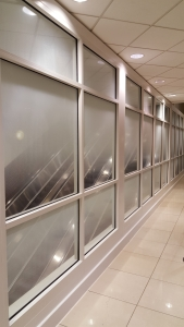 Graphic on film applied to glass corridor partition. All by Glass Graphics of Atlanta.