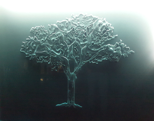 Glass carving with LED-illumination by Glass Graphics of Atlanta.