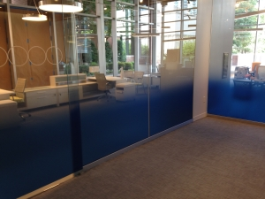 Blue fade / gradient film on glass office partition. Glass filming by Glass Graphics of Atlanta.