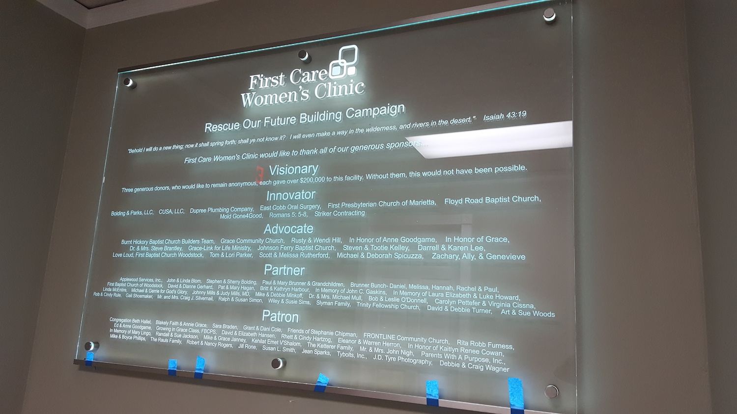 First Care Women's Clinic Donor Wall by Glass Graphics of Atlanta