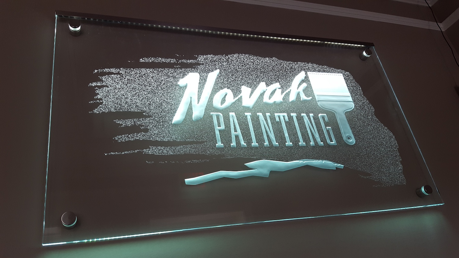 Novak Painting LED Lighted Sign on Stand-off by Glass Graphics of Atlanta