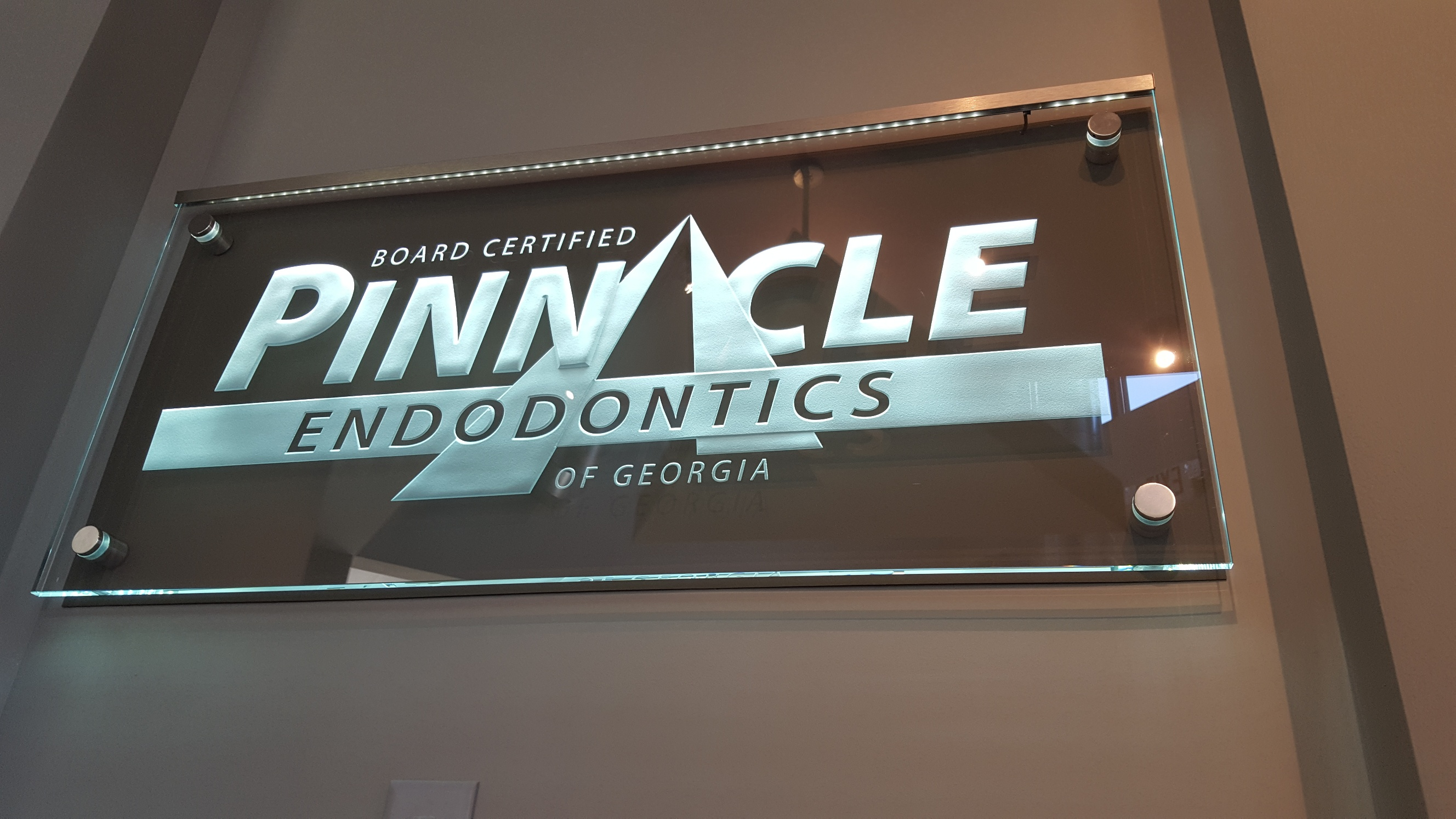 Pinnacle Endotonics Sign on Stand-off by Glass Graphics of Atlanta