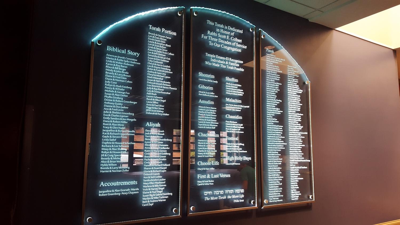 Torah Donor Wall LED Lighting by Glass Graphics of Atlanta